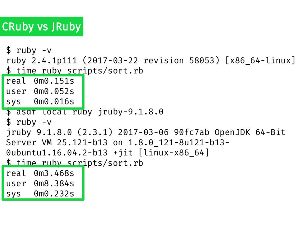 $ ruby -v ruby 2.4.1p111 (2017-03-22 revision 5...