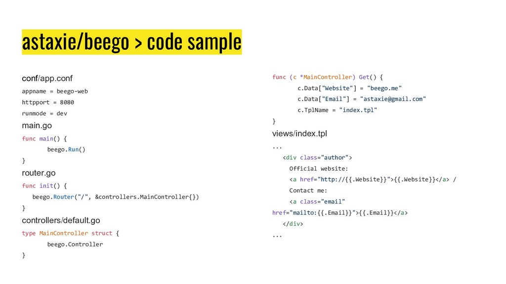 astaxie/beego > code sample conf/app.conf appna...