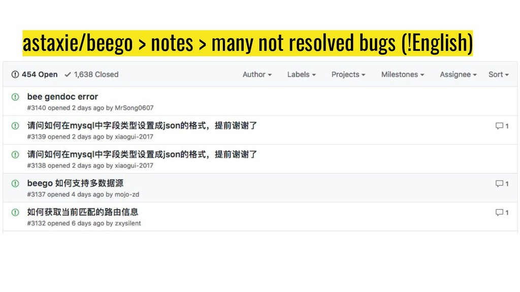 astaxie/beego > notes > many not resolved bugs ...