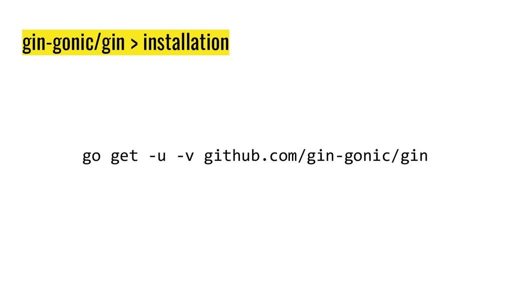 gin-gonic/gin > installation go get -u -v githu...