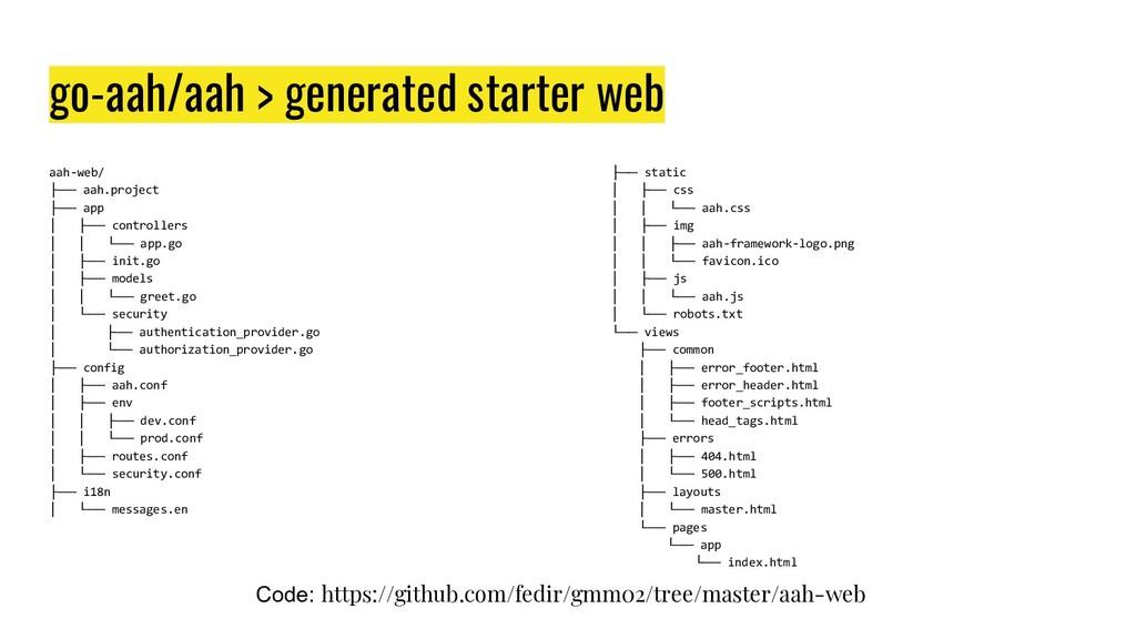 go-aah/aah > generated starter web aah-web/ ├──...