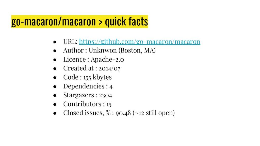 go-macaron/macaron > quick facts ● URL: https:/...