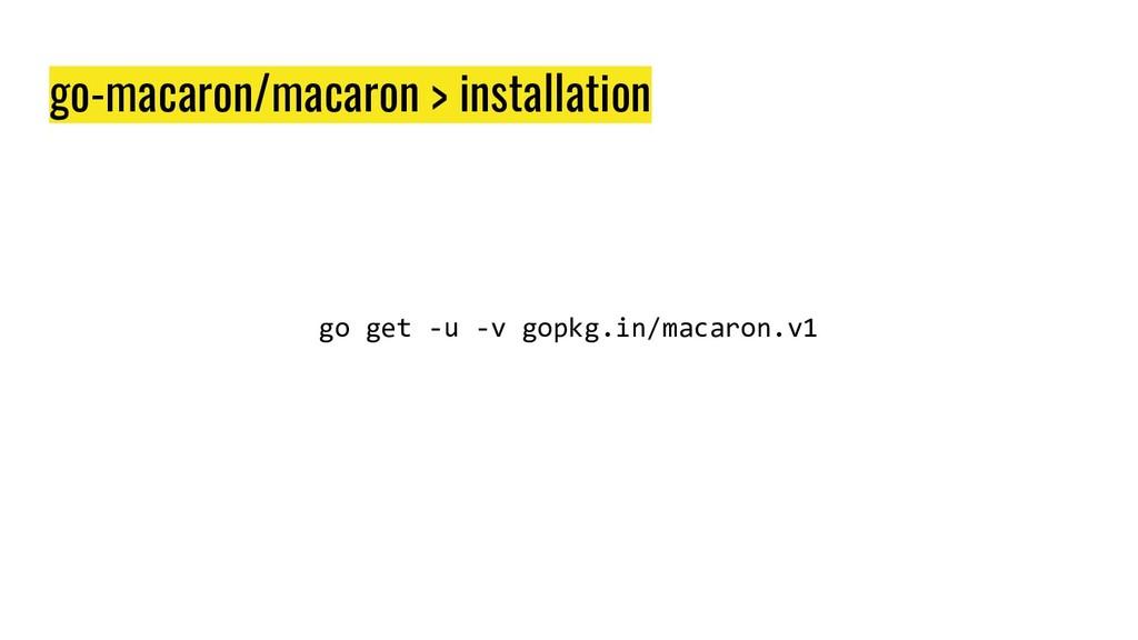 go-macaron/macaron > installation go get -u -v ...