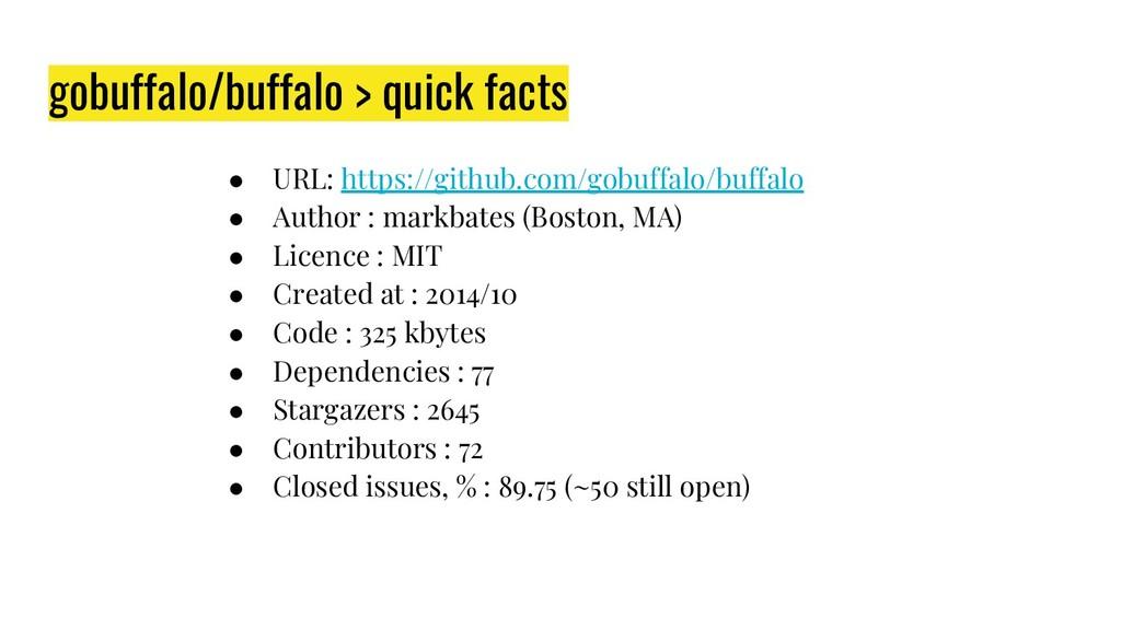 gobuffalo/buffalo > quick facts ● URL: https://...