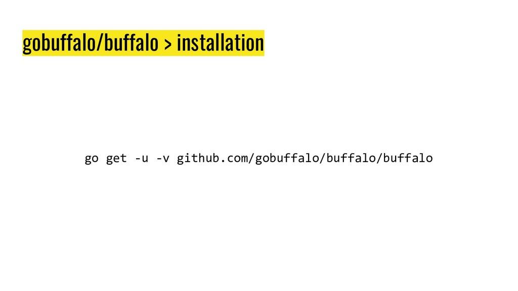 gobuffalo/buffalo > installation go get -u -v g...