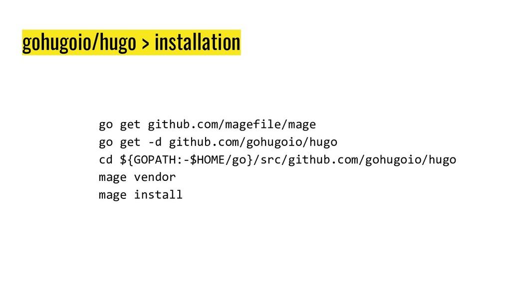 gohugoio/hugo > installation go get github.com/...