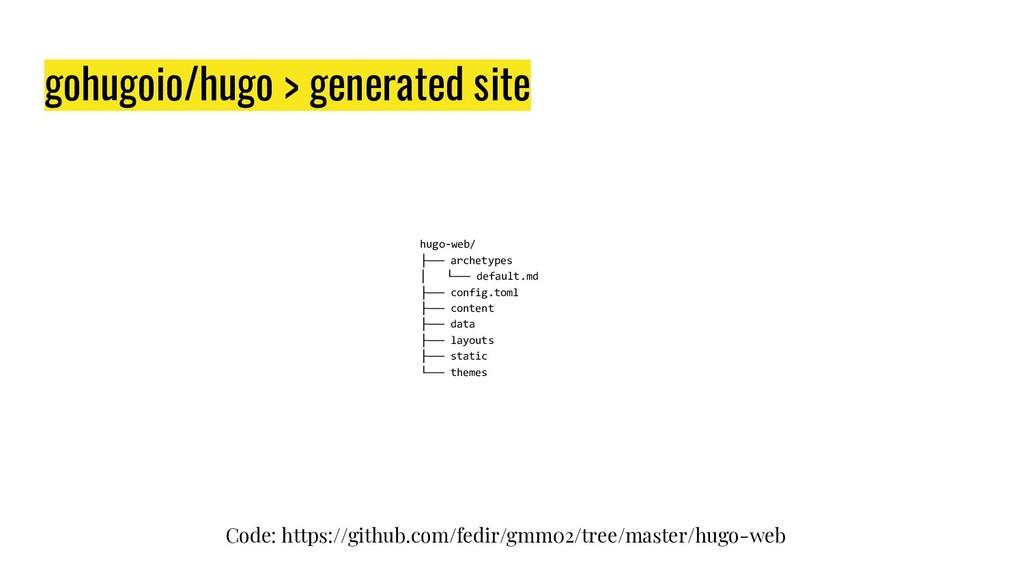 gohugoio/hugo > generated site hugo-web/ ├── ar...