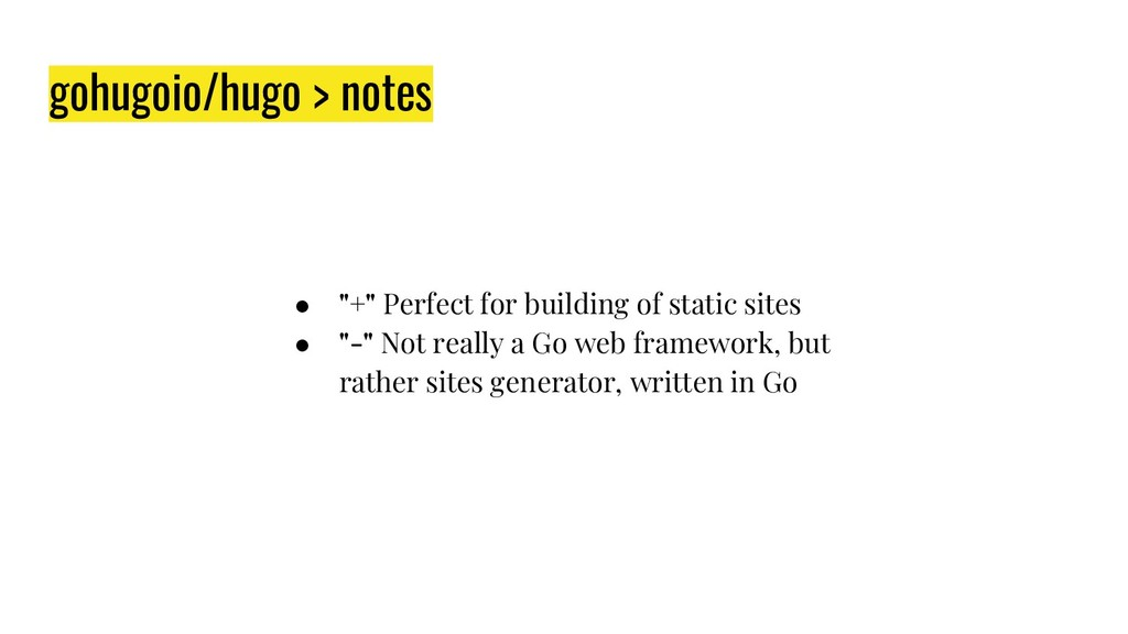 "gohugoio/hugo > notes ● ""+"" Perfect for buildin..."