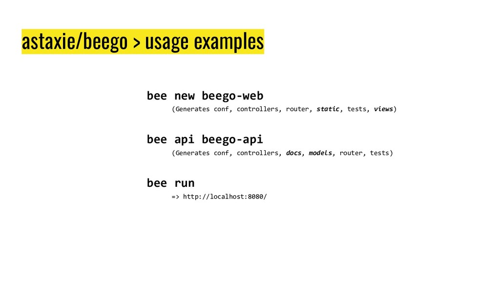 bee new beego-web (Generates conf, controllers,...