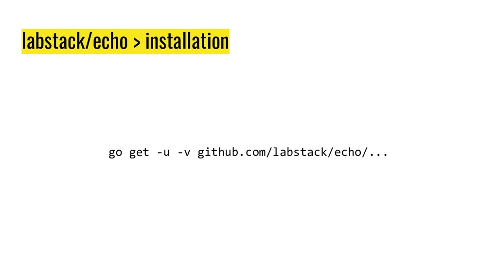 labstack/echo > installation go get -u -v githu...