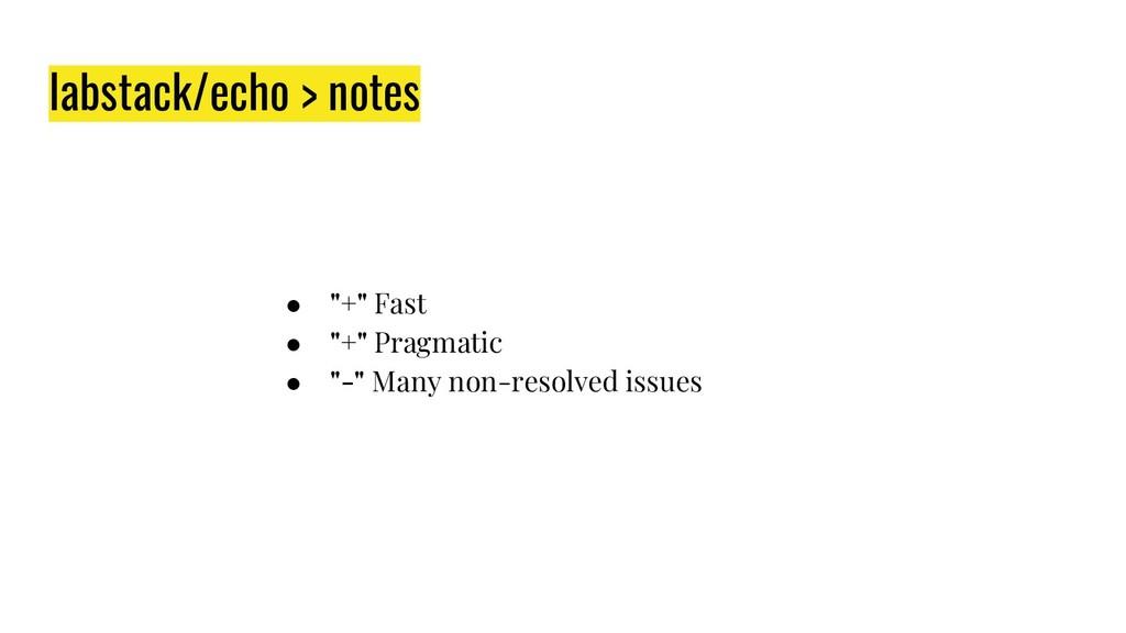 "labstack/echo > notes ● ""+"" Fast ● ""+"" Pragmati..."