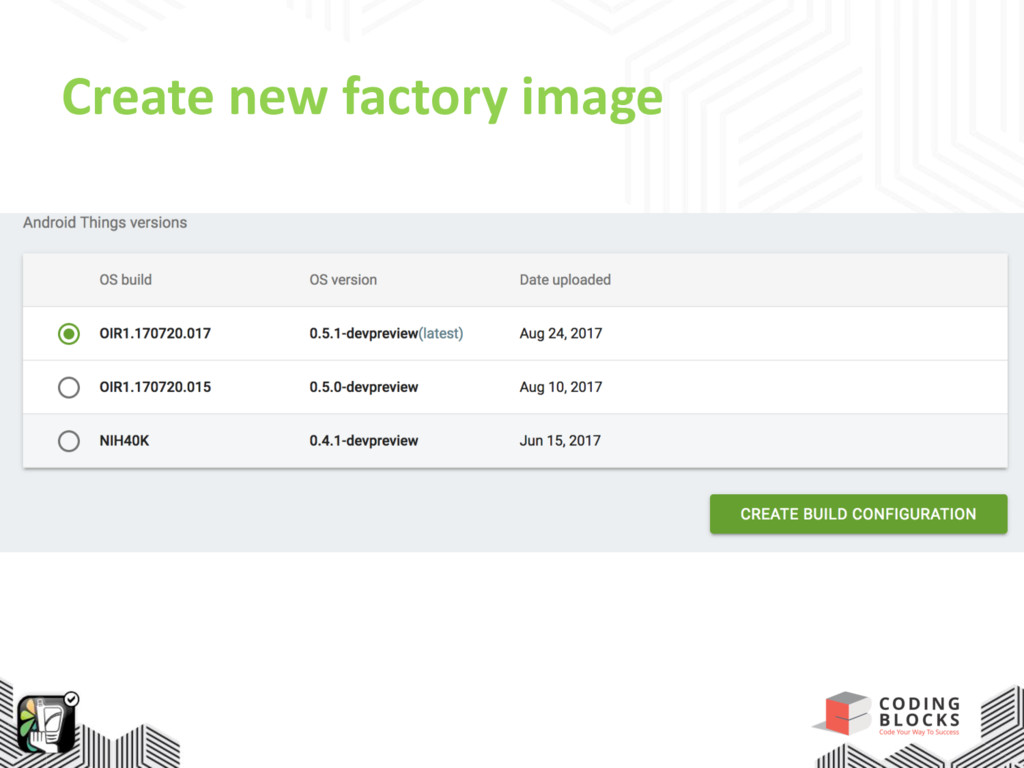 Create new factory image