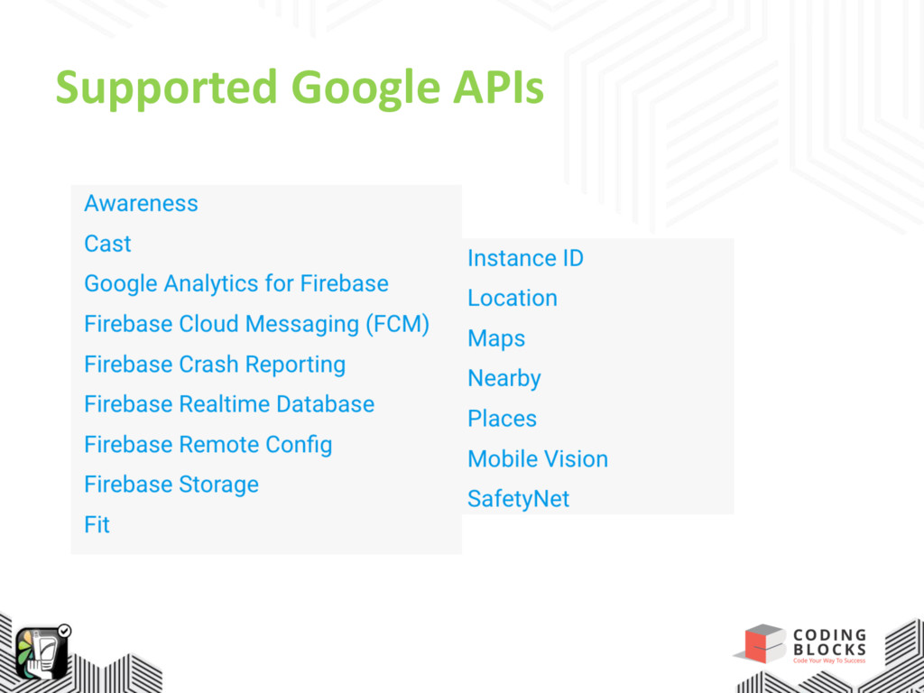 Supported Google APIs