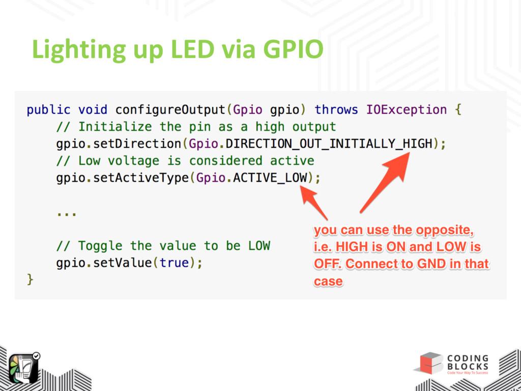 Lighting up LED via GPIO