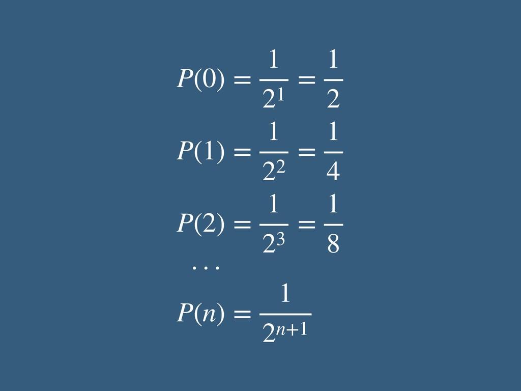 P(0) = 1 21 = 1 2 P(1) = 1 22 = 1 4 P(2) = 1 23...