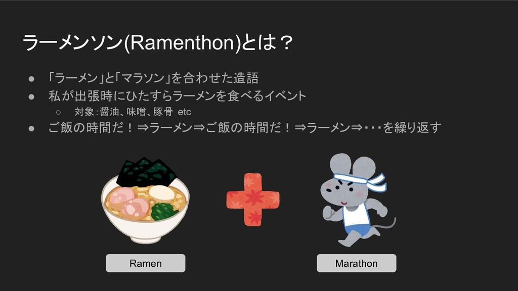ラーメンソン(Ramenthon)とは? ● 「ラーメン」と「マラソン」を合わせた造語 ● 私...