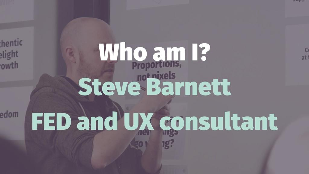Who am I? Steve Barnett FED and UX consultant