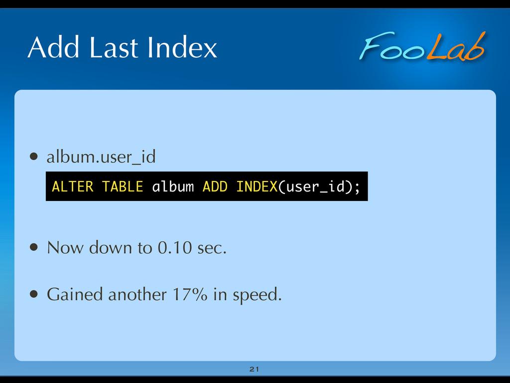 FooLab Add Last Index 21 • album.user_id • Now ...
