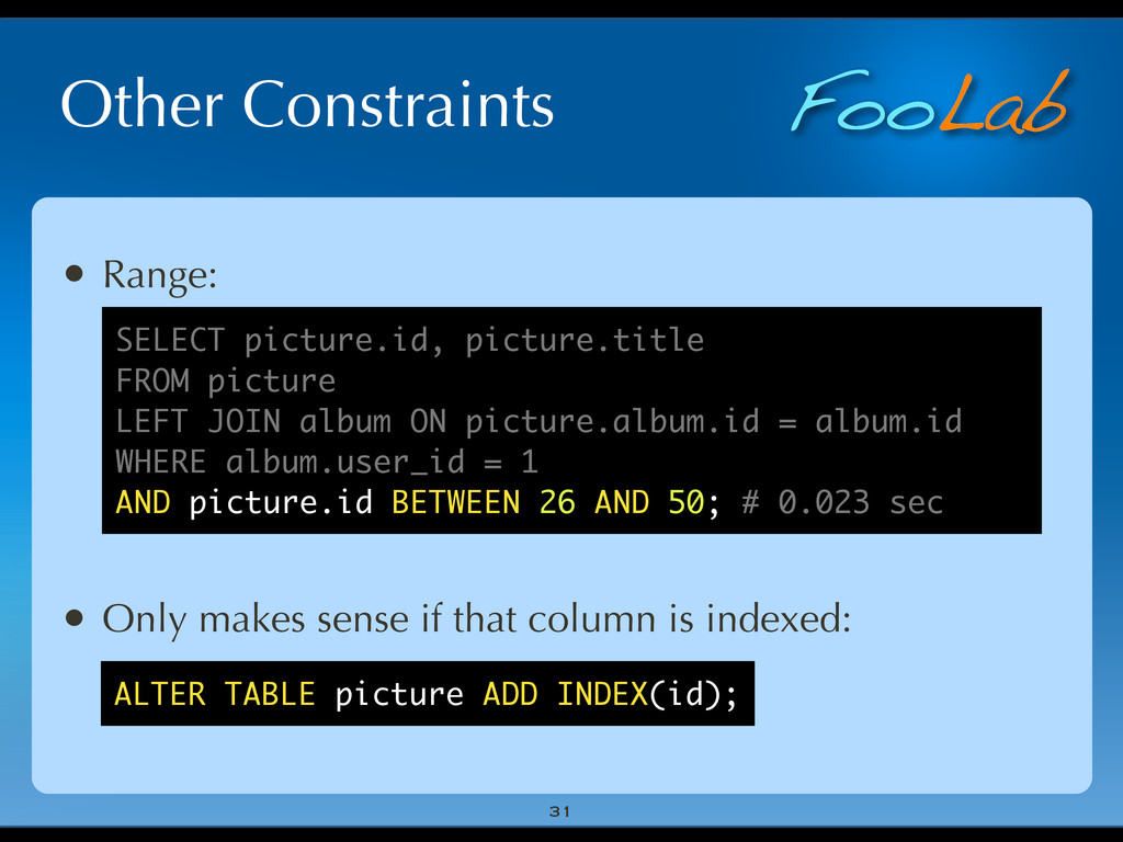 FooLab Other Constraints 31 • Range: • Only mak...