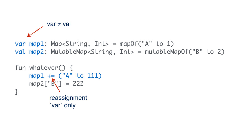 "var map1: Map<String, Int> = mapOf(""A"" to 1) va..."