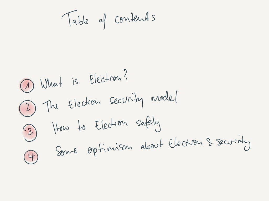 Table of contents • The what and why of Electro...