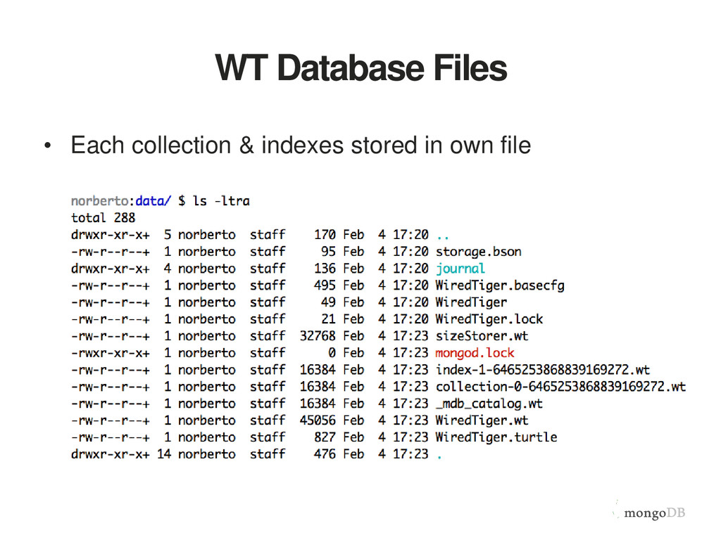 WT Database Files • Each collection & indexes s...