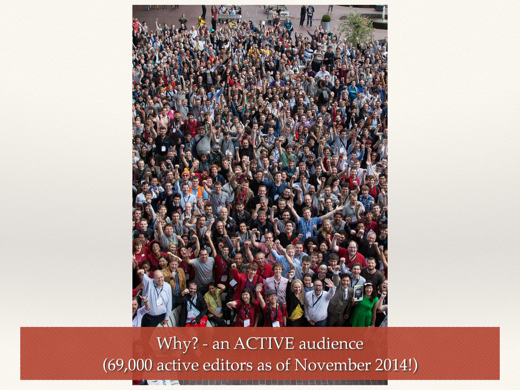 Why? - an ACTIVE audience (69,000 active editor...