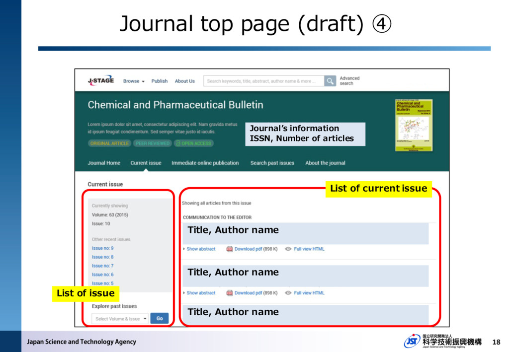 18 List of issue Title, Author name Journal top...