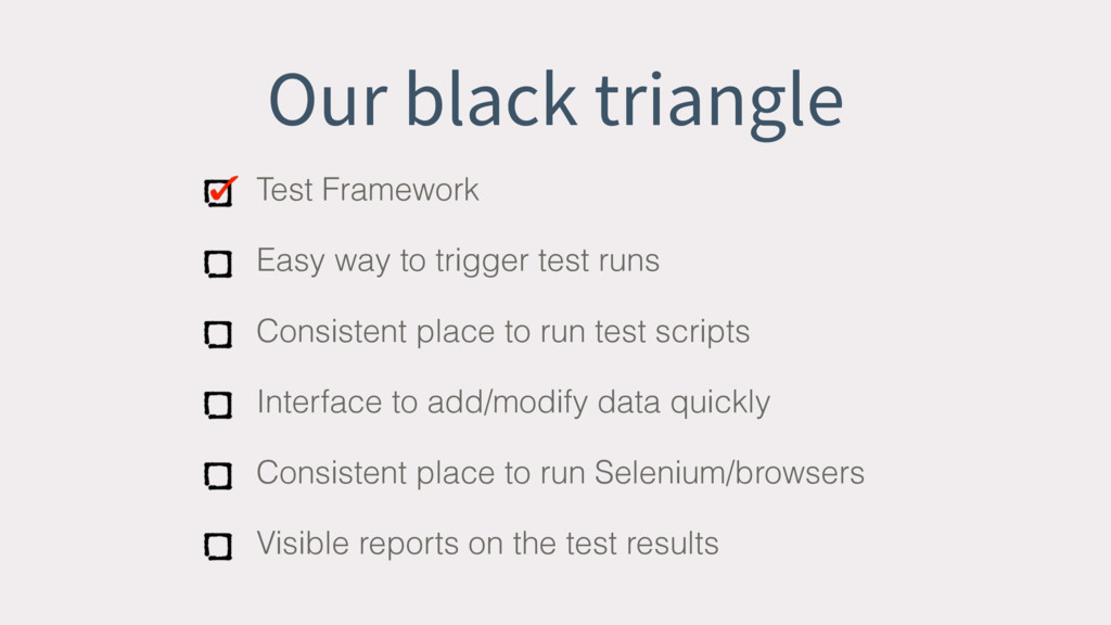Our black triangle Test Framework Easy way to t...