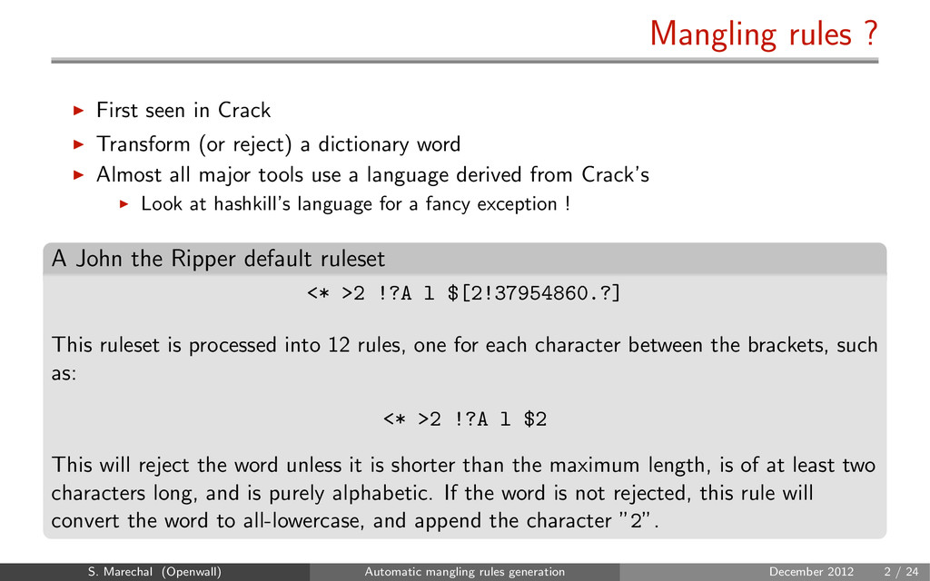 Mangling rules ? First seen in Crack Transform ...