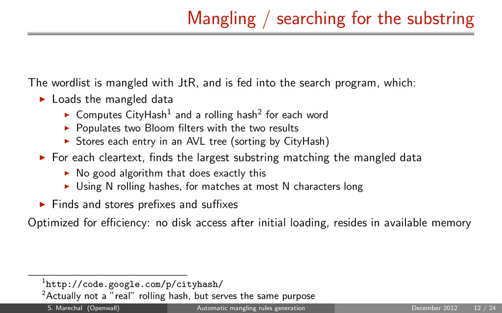 Mangling / searching for the substring The word...