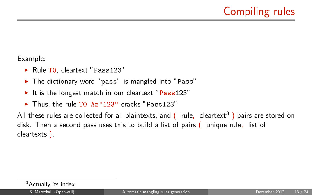 """Compiling rules Example: Rule T0, cleartext """"Pa..."""