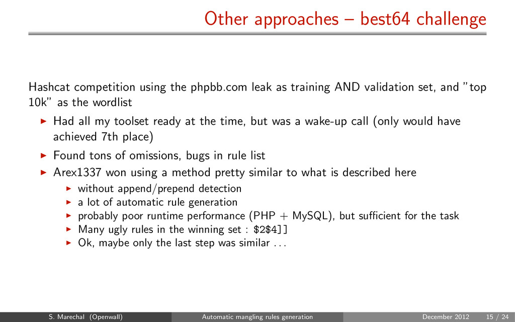 Other approaches – best64 challenge Hashcat com...