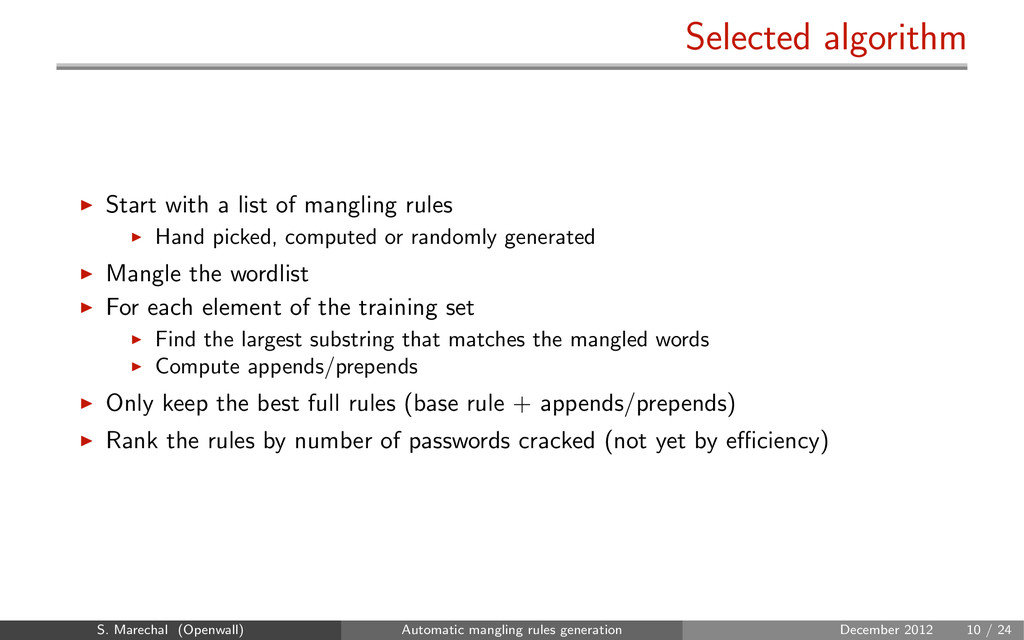 Selected algorithm Start with a list of manglin...