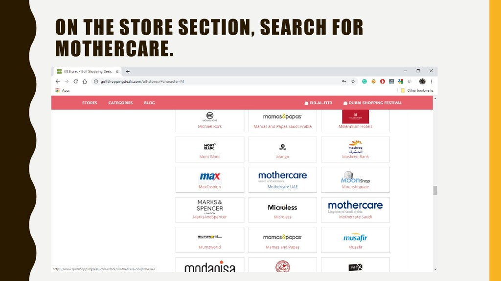 ON THE STORE SECTION, SEARCH FOR MOTHERCARE.