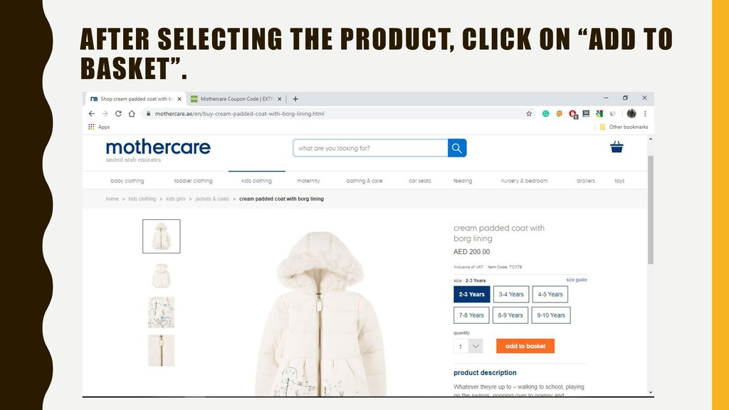 """AFTER SELECTING THE PRODUCT, CLICK ON """"ADD TO B..."""