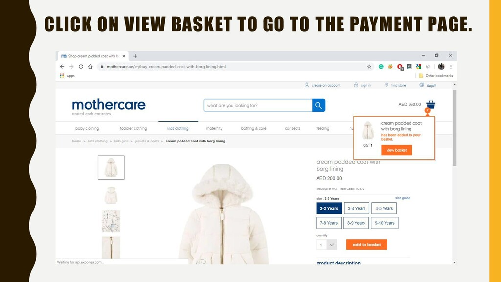 CLICK ON VIEW BASKET TO GO T0 THE PAYMENT PAGE.