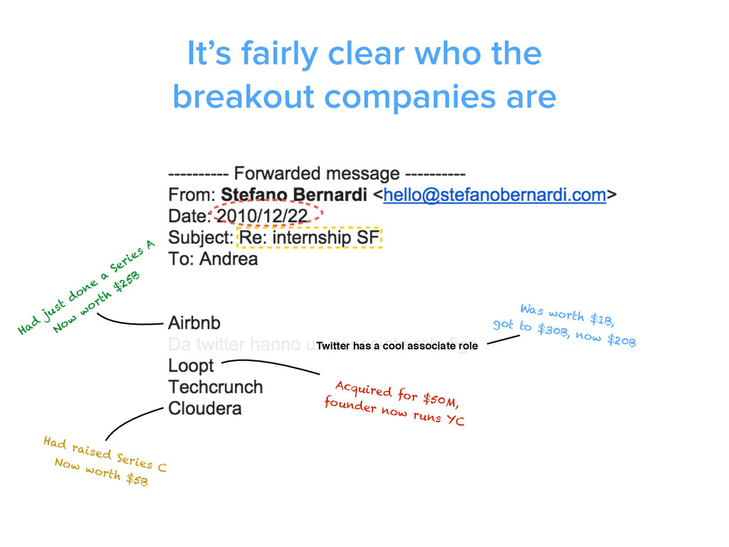 It's fairly clear who the breakout companies ar...