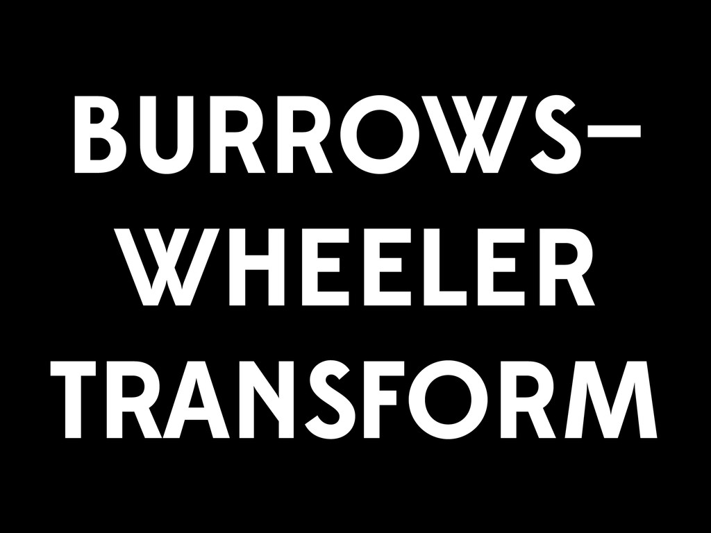 BURROWS— WHEELER TRANSFORM