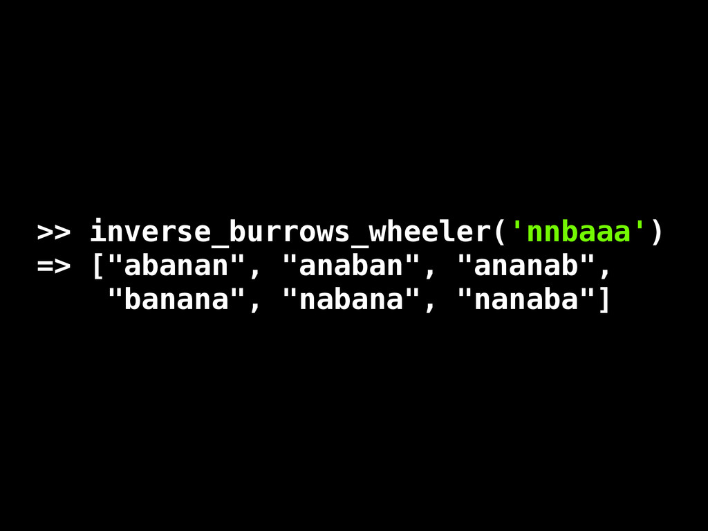 """>> inverse_burrows_wheeler('nnbaaa') => [""""abana..."""