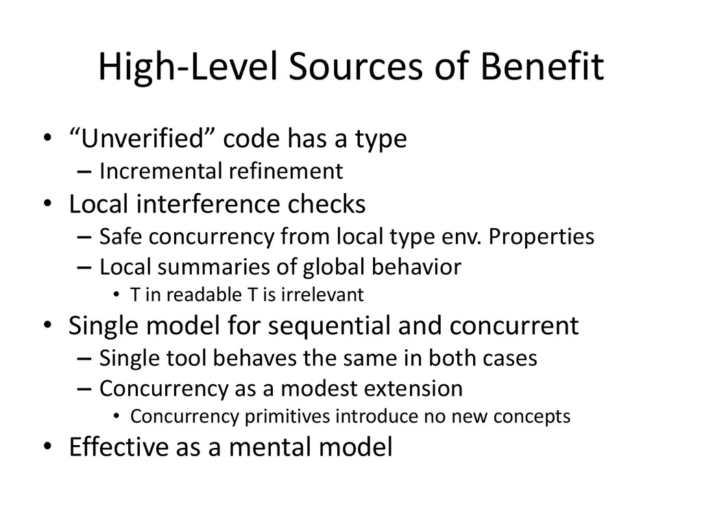"""High-Level Sources of Benefit • """"Unverified"""" co..."""