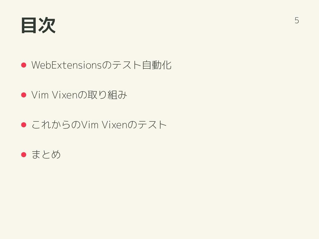 目次 WebExtensionsのテスト自動化 Vim Vixenの取り組み これからのVim...