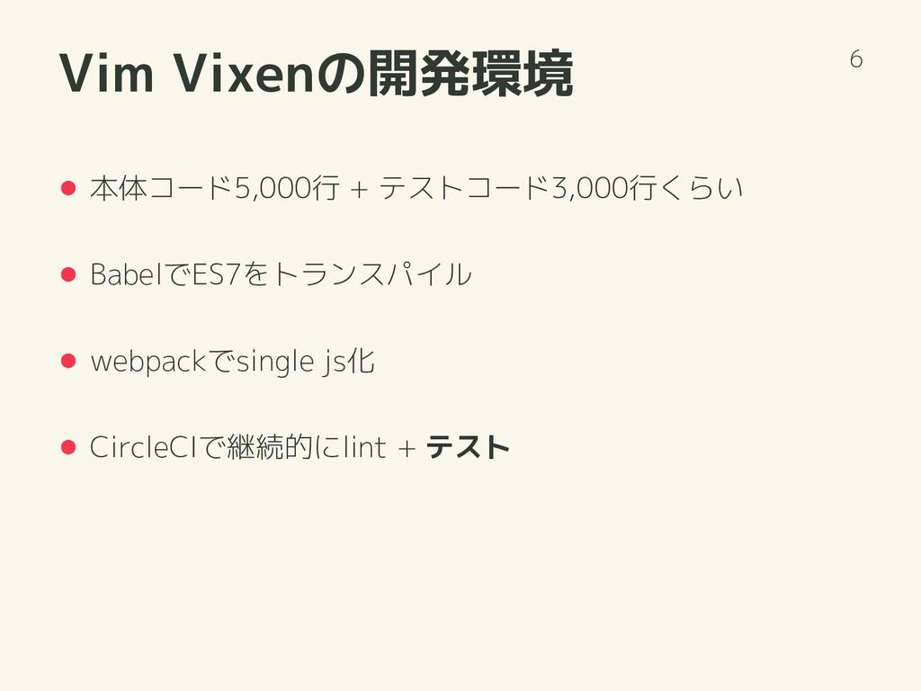 Vim Vixenの開発環境 本体コード5,000行 + テストコード3,000行くらい Ba...