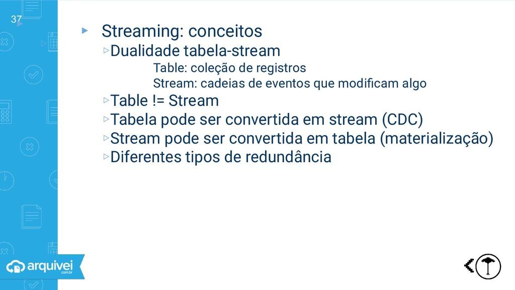 37 ▸ ▹ Streaming: conceitos ▸ Streaming: concei...