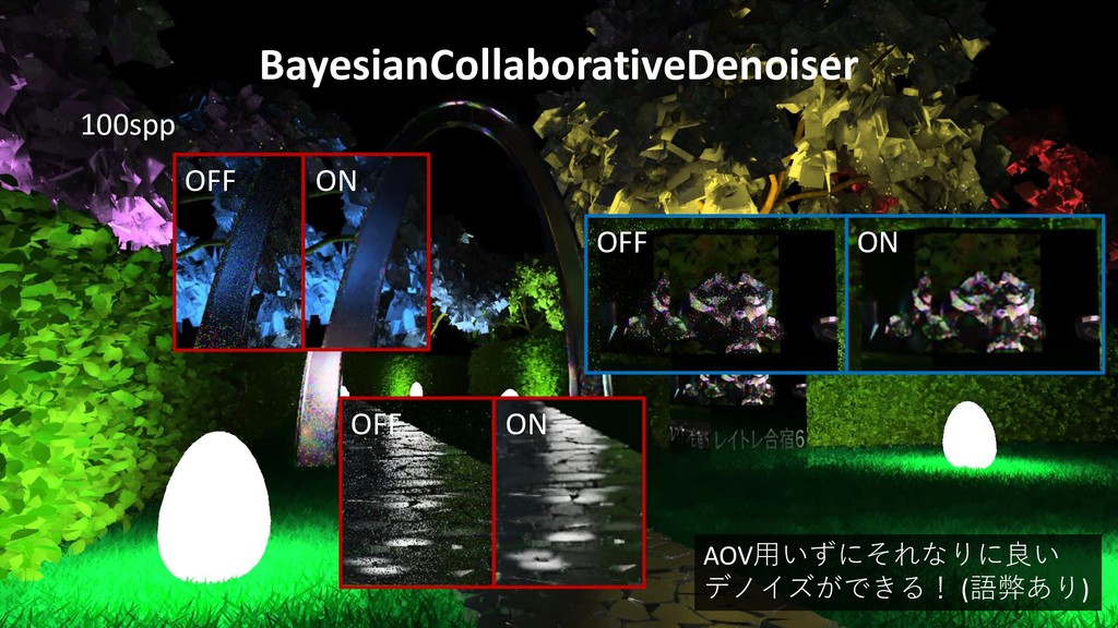 BayesianCollaborativeDenoiser 100spp OFF ON OFF...