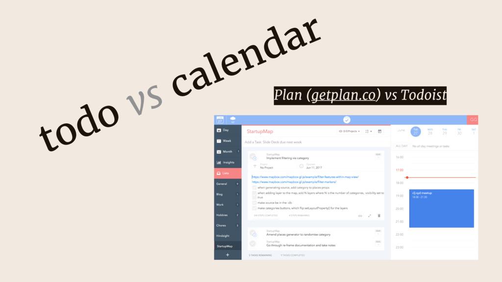 todo vs calendar Plan (getplan.co) vs Todoist