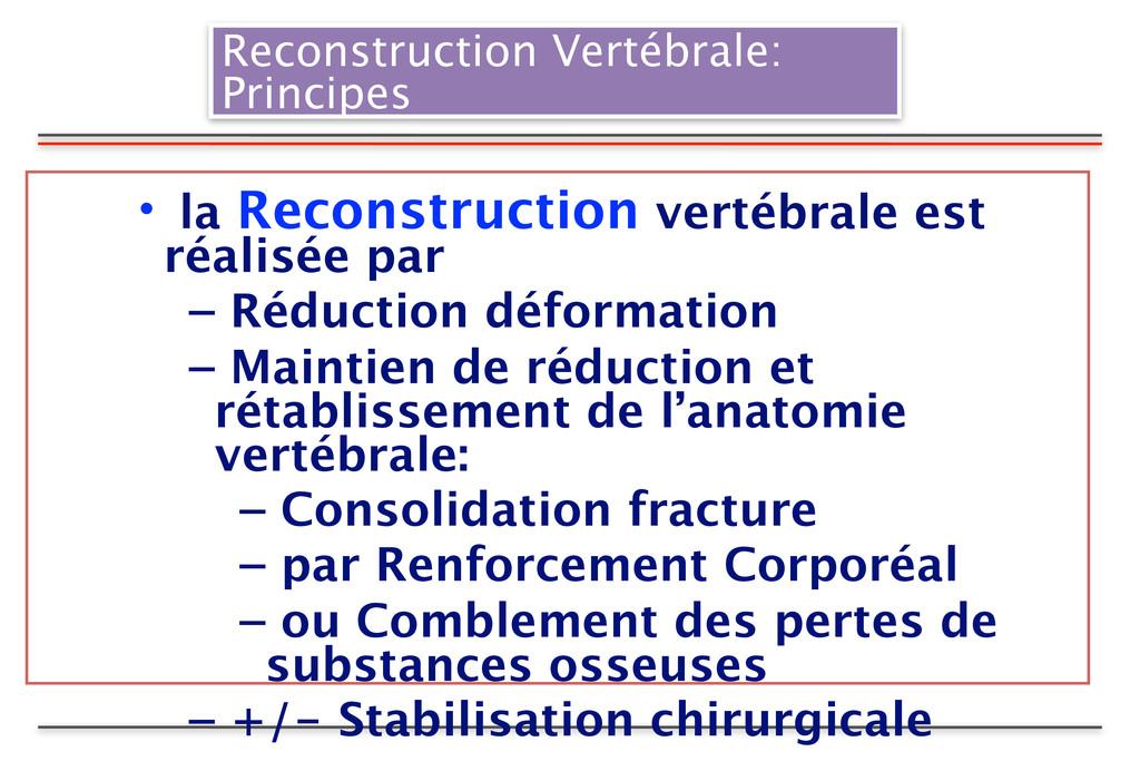 Reconstruction Vertébrale: Principes • la Recon...