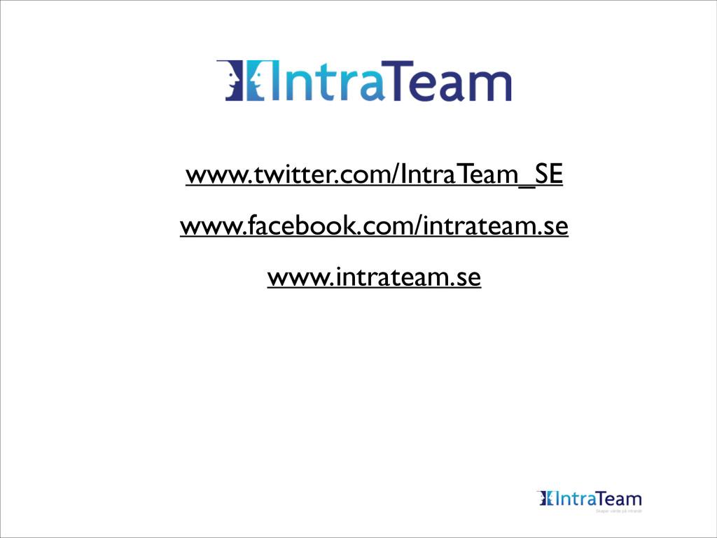 www.twitter.com/IntraTeam_SE  www.facebook.co...