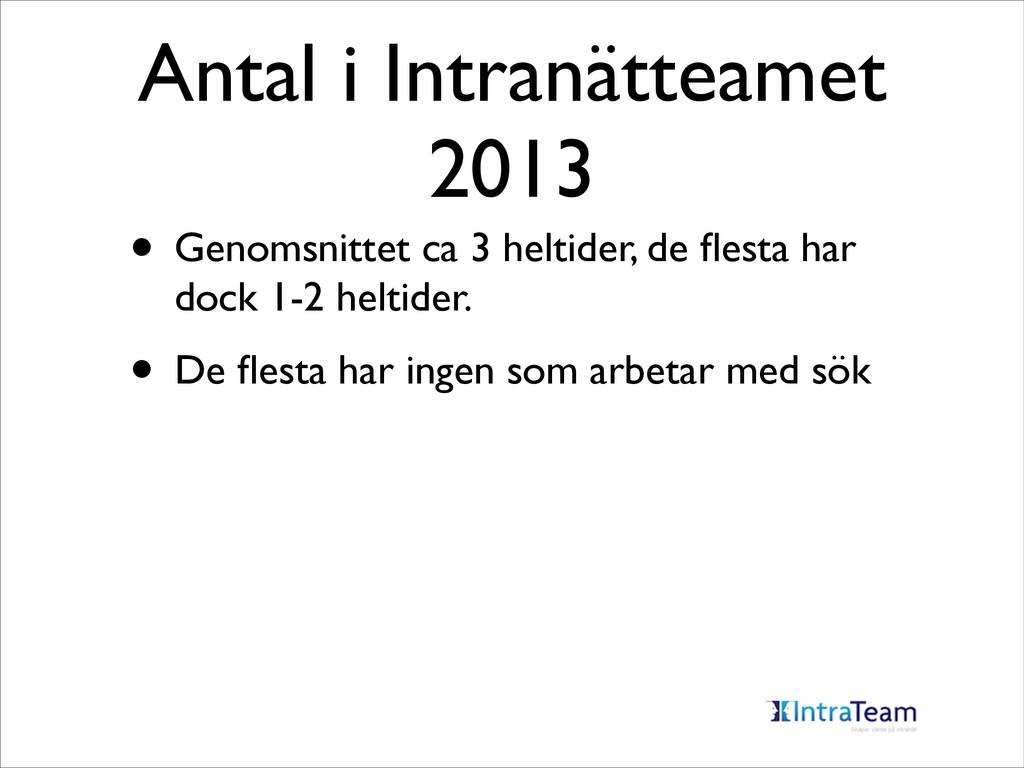 Antal i Intranätteamet 2013 • Genomsnittet ca 3...