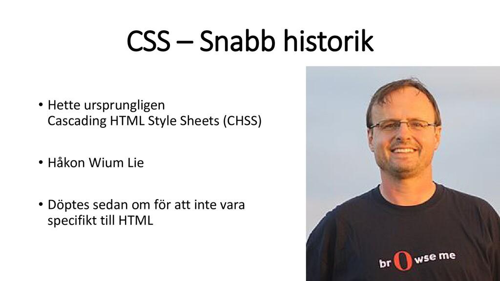 CSS – Snabb historik • Hette ursprungligen Casc...
